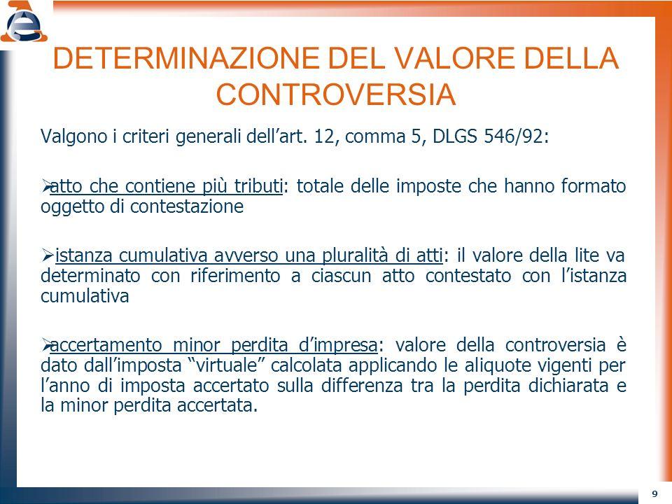 9 DETERMINAZIONE DEL VALORE DELLA CONTROVERSIA Valgono i criteri generali dellart. 12, comma 5, DLGS 546/92: atto che contiene più tributi: totale del