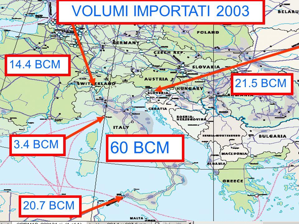 VOLUMI IMPORTATI 2003 14.4 BCM 21.5 BCM 3.4 BCM 20.7 BCM 60 BCM