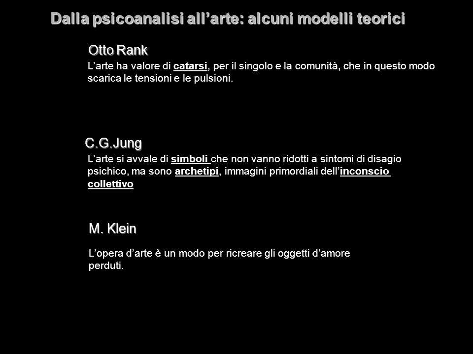 Otto Rank C.G.Jung M. Klein Dalla psicoanalisi allarte: alcuni modelli teorici Larte ha valore di catarsi, per il singolo e la comunità, che in questo