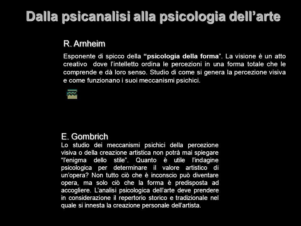 Dalla psicanalisi alla psicologia dellarte R. Arnheim E. Gombrich Lo studio dei meccanismi psichici della percezione visiva o della creazione artistic