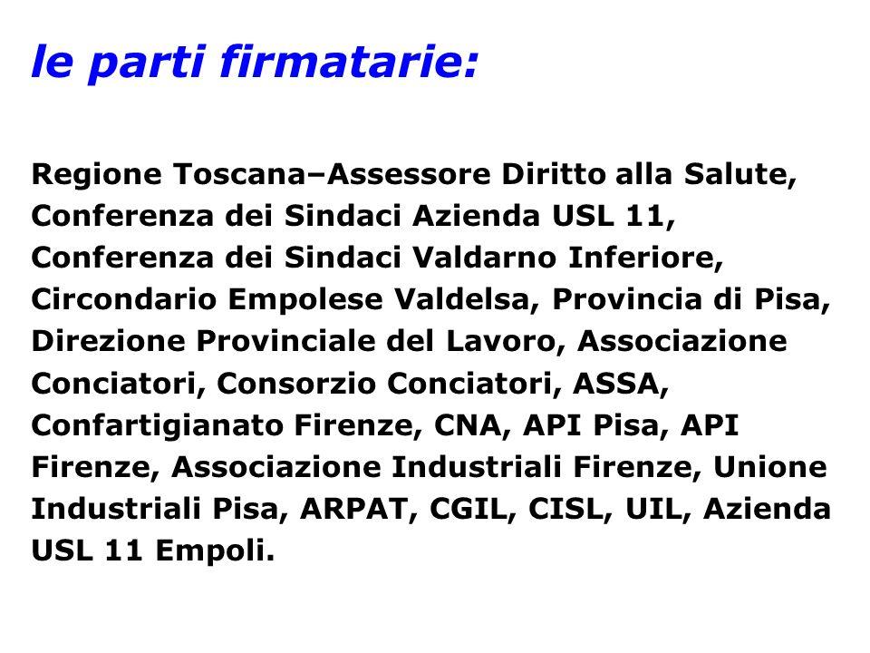 le parti firmatarie: Regione Toscana–Assessore Diritto alla Salute, Conferenza dei Sindaci Azienda USL 11, Conferenza dei Sindaci Valdarno Inferiore,