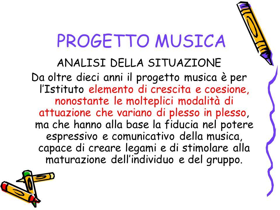 PROGETTO MUSICA ANALISI DELLA SITUAZIONE Da oltre dieci anni il progetto musica è per lIstituto elemento di crescita e coesione, nonostante le moltepl