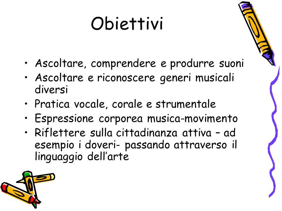 Obiettivi Ascoltare, comprendere e produrre suoni Ascoltare e riconoscere generi musicali diversi Pratica vocale, corale e strumentale Espressione cor