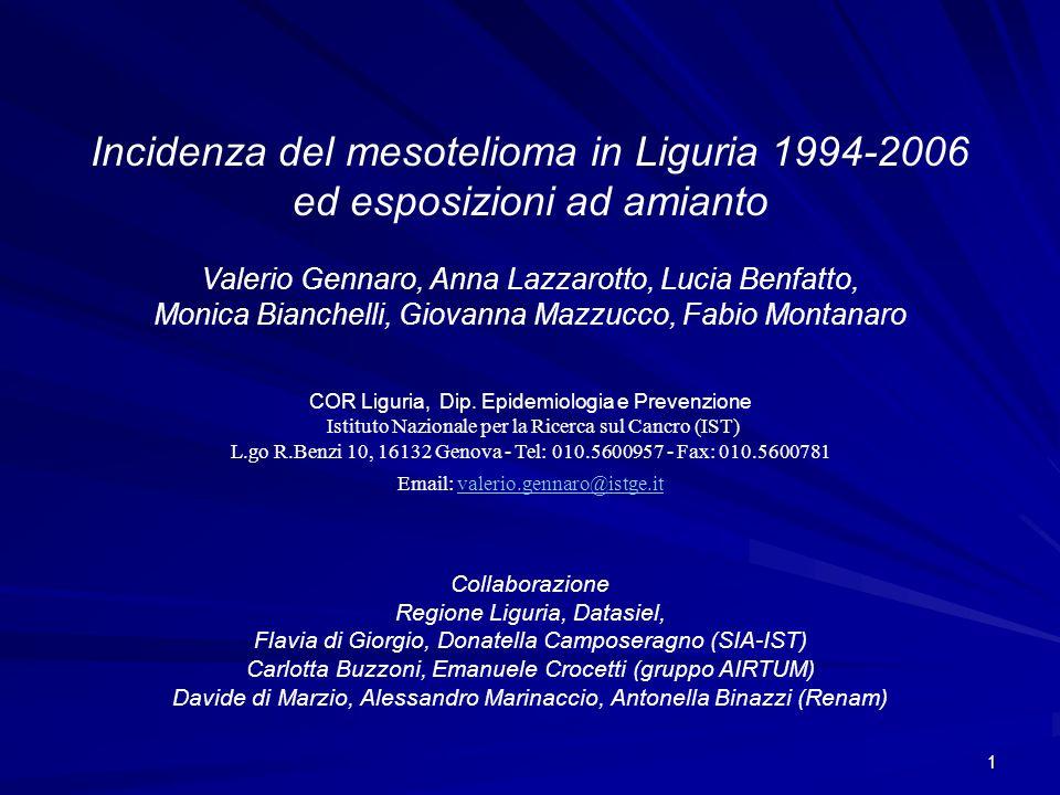 1 Valerio Gennaro, Anna Lazzarotto, Lucia Benfatto, Monica Bianchelli, Giovanna Mazzucco, Fabio Montanaro Incidenza del mesotelioma in Liguria 1994-20