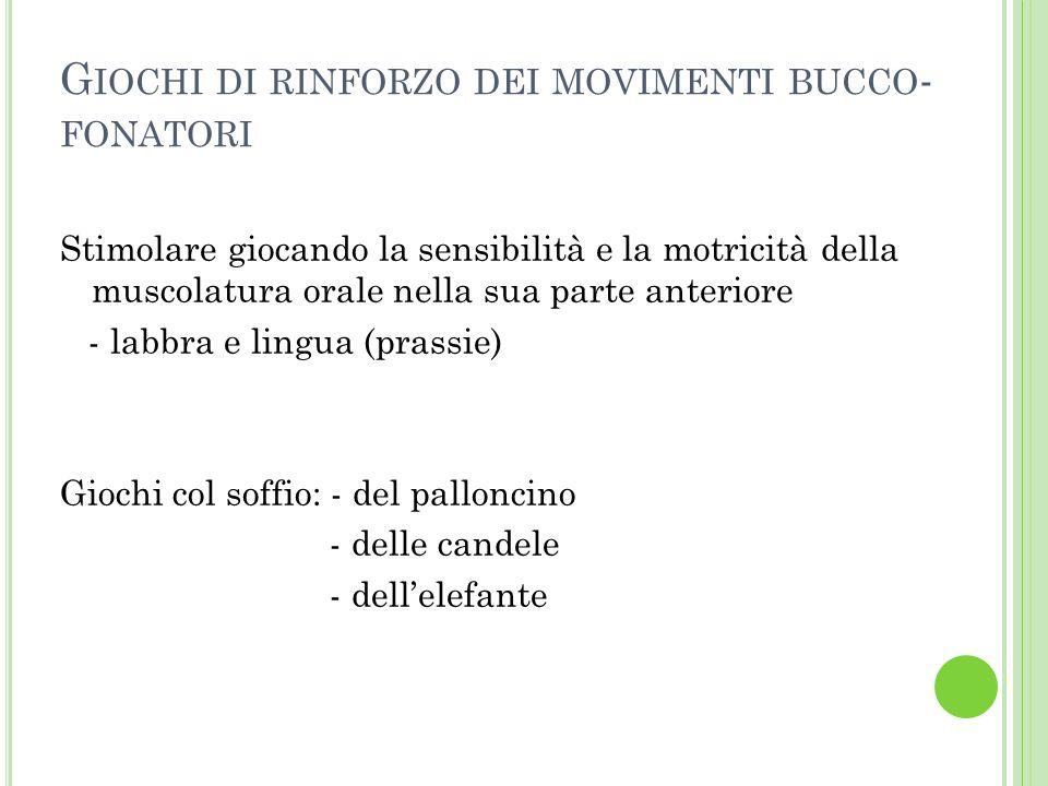G IOCHI DI RINFORZO DEI MOVIMENTI BUCCO - FONATORI Stimolare giocando la sensibilità e la motricità della muscolatura orale nella sua parte anteriore