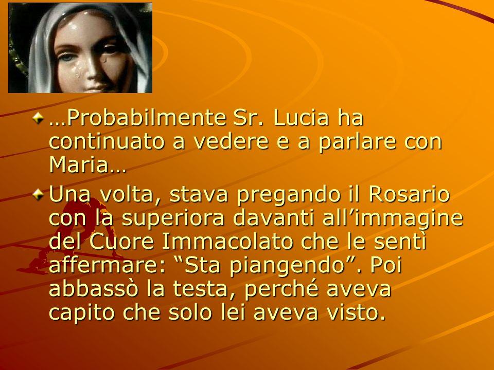 …Probabilmente Sr. Lucia ha continuato a vedere e a parlare con Maria… Una volta, stava pregando il Rosario con la superiora davanti allimmagine del C