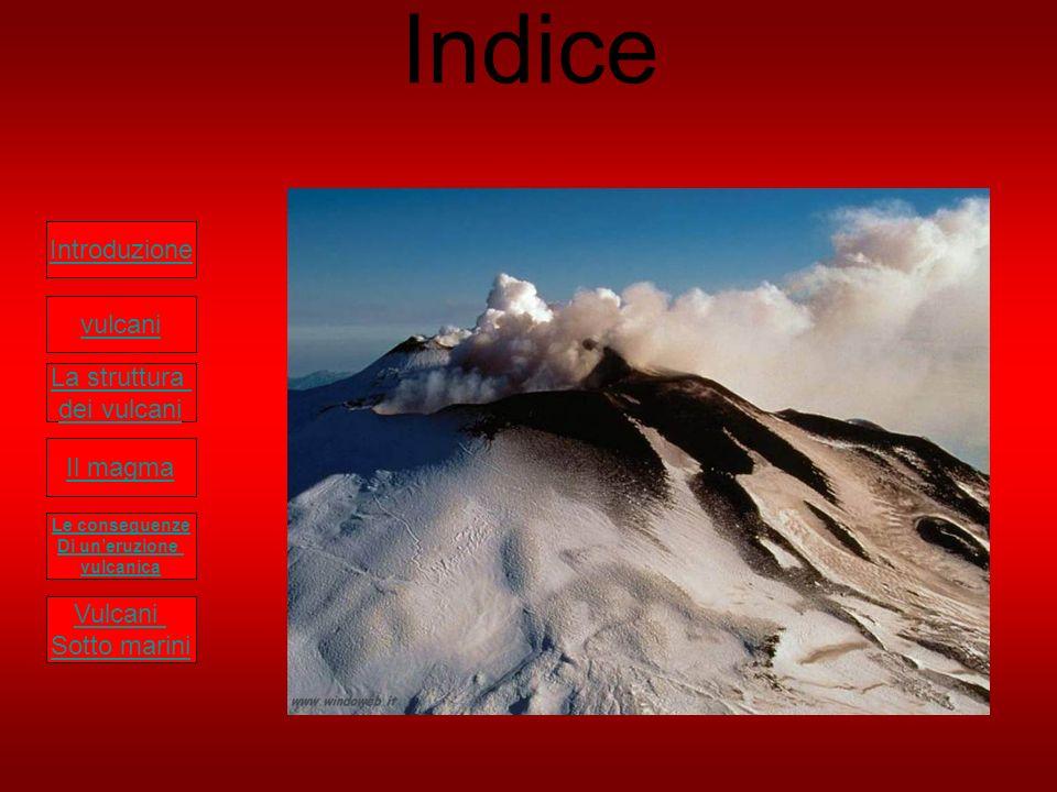 Indice Introduzione vulcani La struttura dei vulcani Il magma Le conseguenze Di uneruzione vulcanica Vulcani Sotto marini