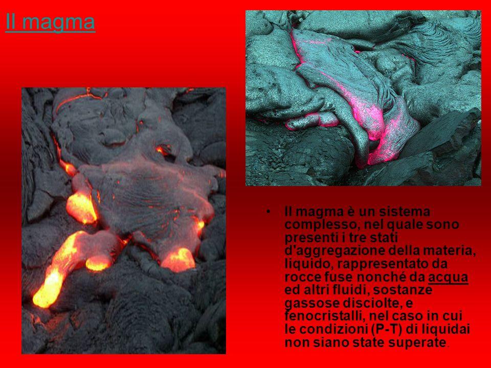 Il magma Il magma è un sistema complesso, nel quale sono presenti i tre stati d'aggregazione della materia, liquido, rappresentato da rocce fuse nonch
