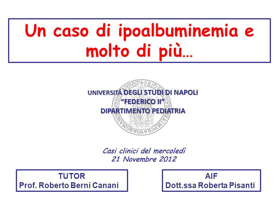 10 Novembre 2011: PESO: 32.900 Kg (10-25°pct) Benessere clinico -PT 6.4 g/dL, Albumina 4 g/dL.