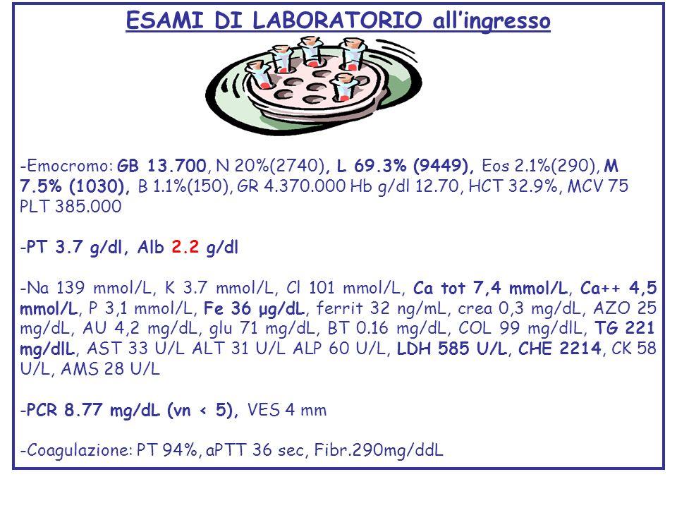 ESAMI DI LABORATORIO allingresso -Emocromo: GB 13.700, N 20%(2740), L 69.3% (9449), Eos 2.1%(290), M 7.5% (1030), B 1.1%(150), GR 4.370.000 Hb g/dl 12