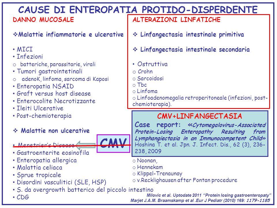 CAUSE DI ENTEROPATIA PROTIDO-DISPERDENTE DANNO MUCOSALE Malattie infiammatorie e ulcerative MICI Infezioni o batteriche, parassitarie, virali Tumori g