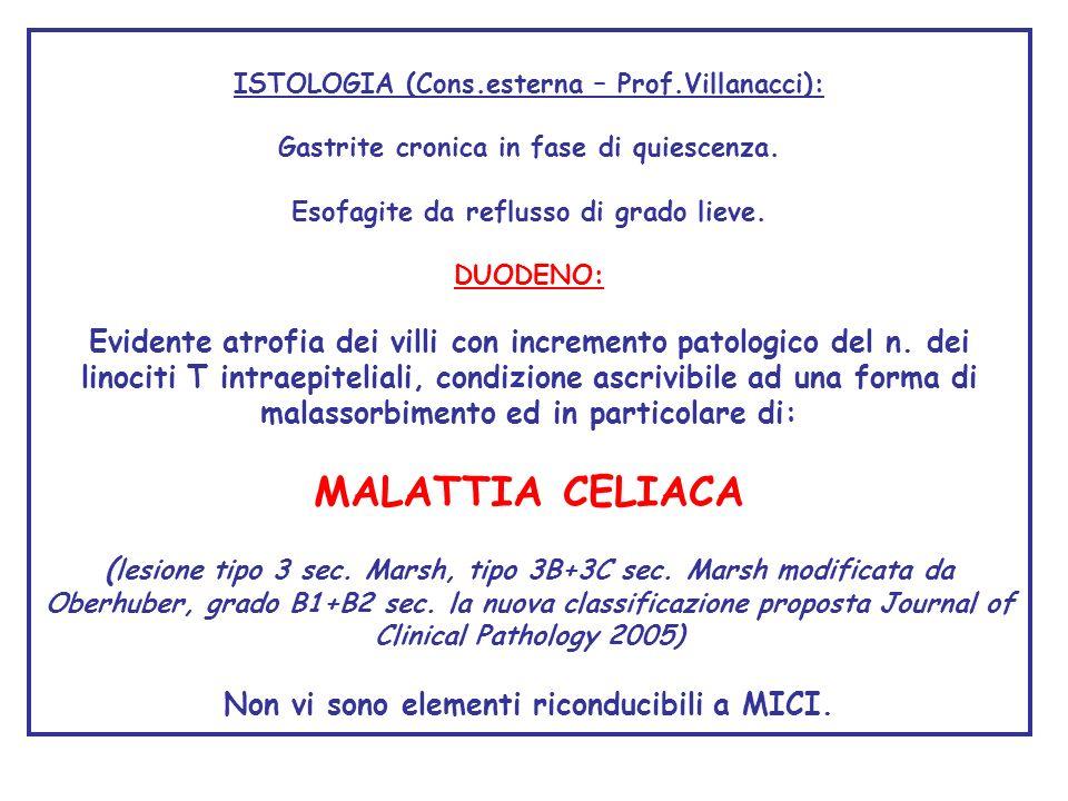 ISTOLOGIA (Cons.esterna – Prof.Villanacci): Gastrite cronica in fase di quiescenza. Esofagite da reflusso di grado lieve. DUODENO: Evidente atrofia de
