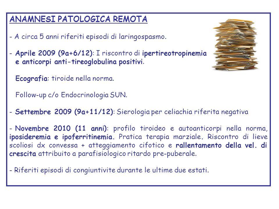 ANAMNESI PATOLOGICA REMOTA - A circa 5 anni riferiti episodi di laringospasmo. - Aprile 2009 (9a+6/12): I riscontro di ipertireotropinemia e anticorpi