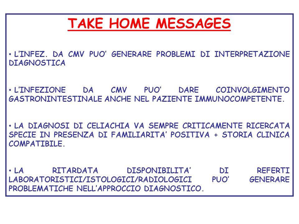 TAKE HOME MESSAGES LINFEZ. DA CMV PUO GENERARE PROBLEMI DI INTERPRETAZIONE DIAGNOSTICA LINFEZIONE DA CMV PUO DARE COINVOLGIMENTO GASTRONINTESTINALE AN