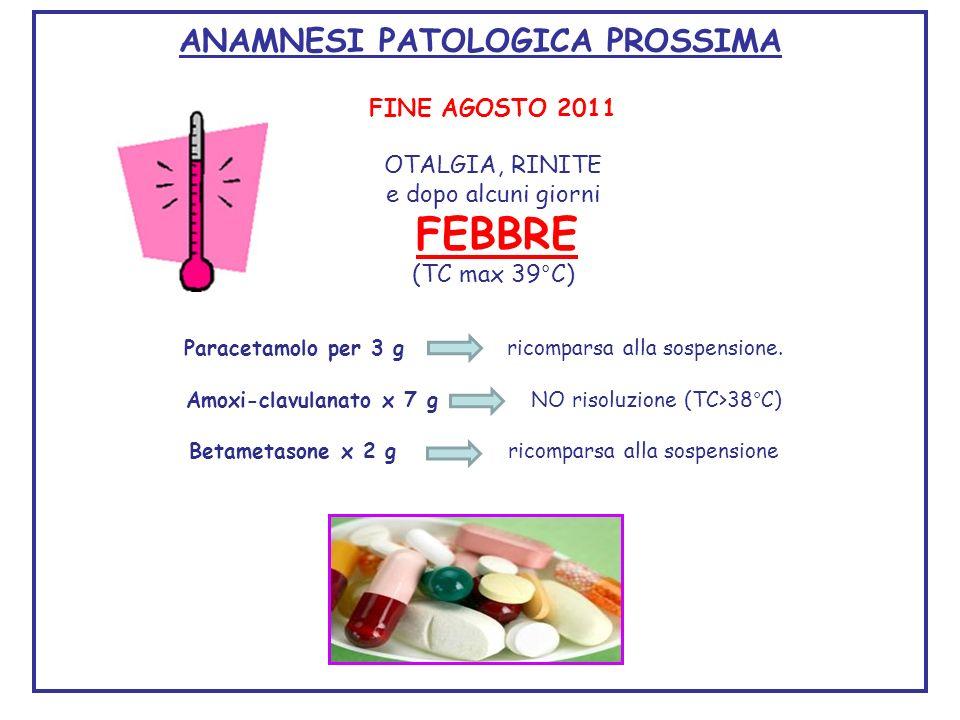FINE AGOSTO 2011 OTALGIA, RINITE e dopo alcuni giorni FEBBRE (TC max 39°C) ANAMNESI PATOLOGICA PROSSIMA Paracetamolo per 3 g ricomparsa alla sospensio