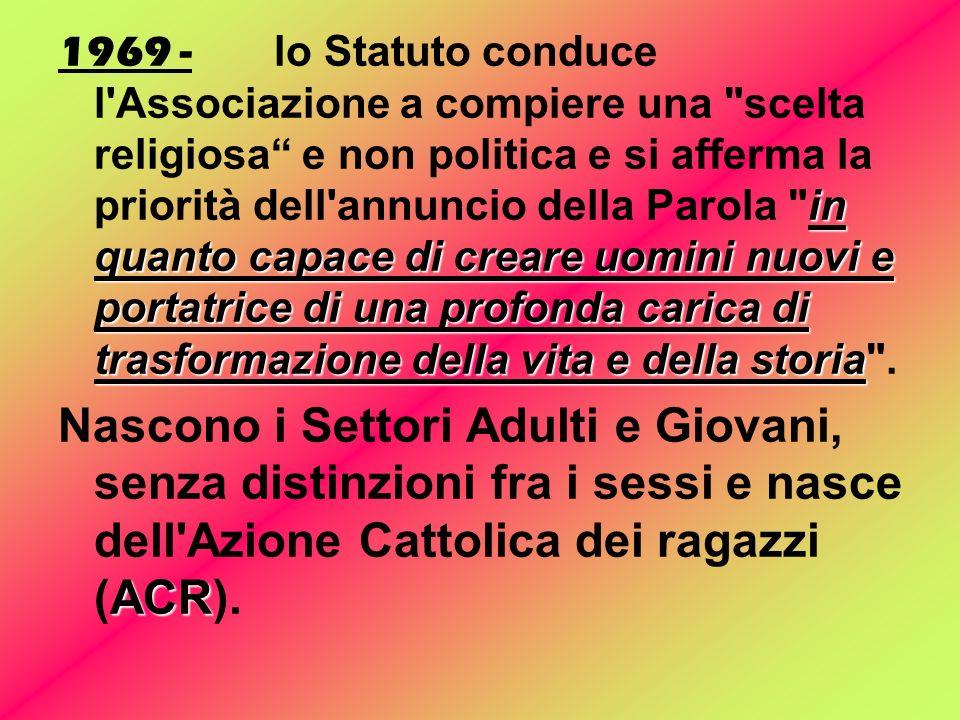 1908 - Nasce l'Unione fra le Donne Cattoliche Italiane e Federazione Italiana Uomini Cattolici 1919 - La Gioventù Femminile