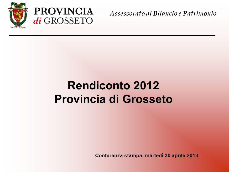 Rendiconto 2012 Provincia di Grosseto Assessorato al Bilancio e Patrimonio Conferenza stampa, martedì 30 aprile 2013