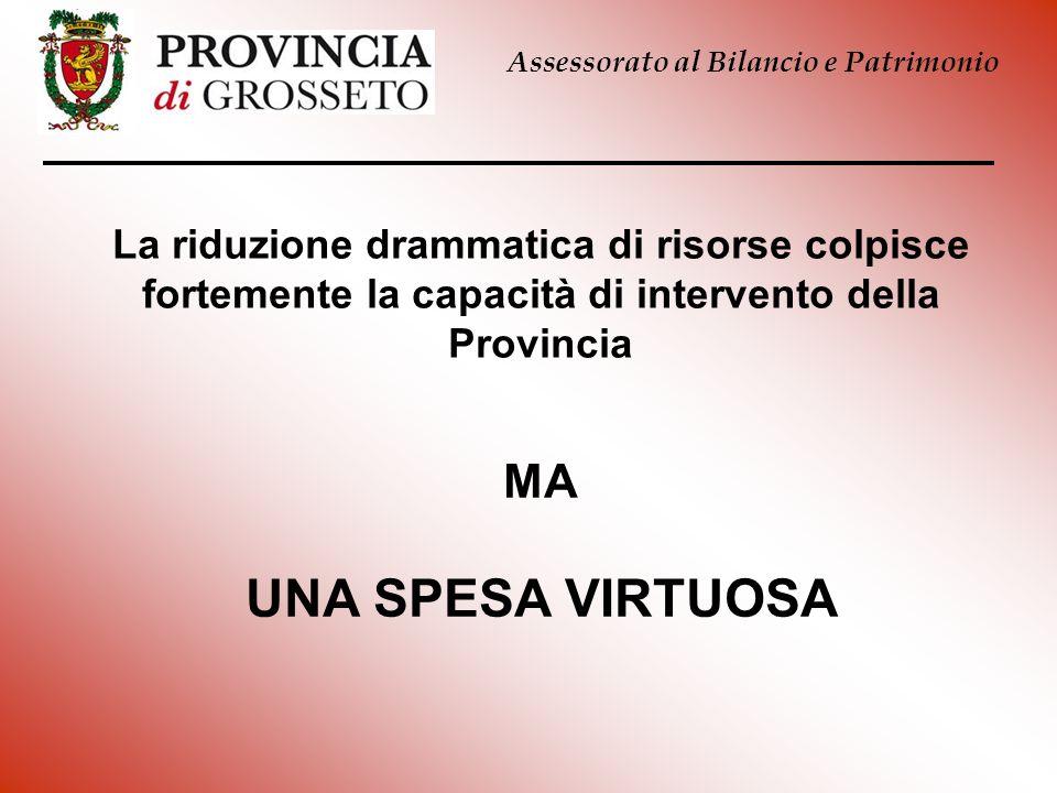 La riduzione drammatica di risorse colpisce fortemente la capacità di intervento della Provincia Assessorato al Bilancio e Patrimonio MA UNA SPESA VIR