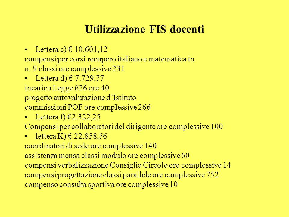 Utilizzazione FIS docenti Lettera c) 10.601,12 compensi per corsi recupero italiano e matematica in n. 9 classi ore complessive 231 Lettera d) 7.729,7