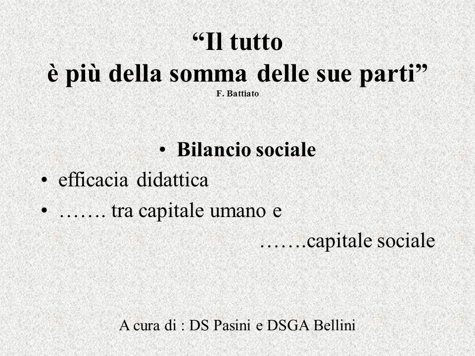 Il tutto è più della somma delle sue parti F. Battiato Bilancio sociale efficacia didattica …….