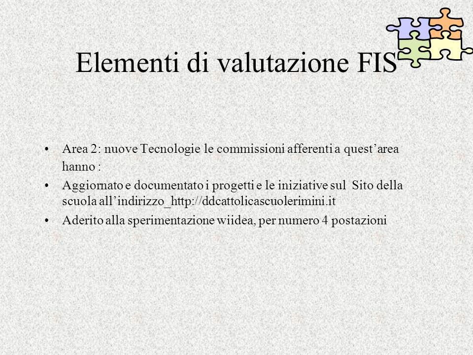 Elementi di valutazione FIS Area 2: nuove Tecnologie le commissioni afferenti a questarea hanno : Aggiornato e documentato i progetti e le iniziative sul Sito della scuola allindirizzo_http://ddcattolicascuolerimini.it Aderito alla sperimentazione wiidea, per numero 4 postazioni