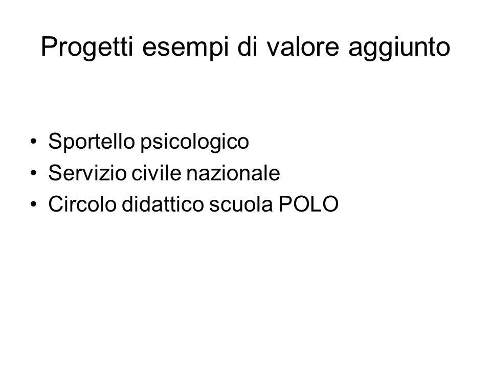 Progetti esempi di valore aggiunto Sportello psicologico Servizio civile nazionale Circolo didattico scuola POLO