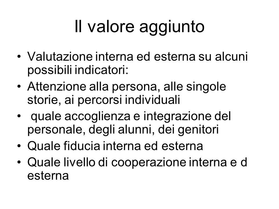 Il valore aggiunto Valutazione interna ed esterna su alcuni possibili indicatori: Attenzione alla persona, alle singole storie, ai percorsi individual