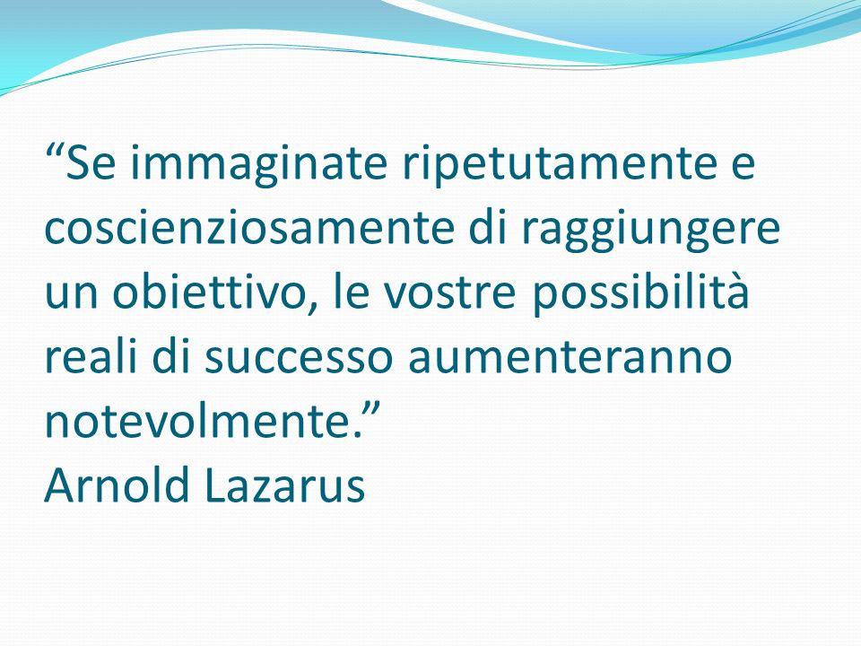 Se immaginate ripetutamente e coscienziosamente di raggiungere un obiettivo, le vostre possibilità reali di successo aumenteranno notevolmente. Arnold