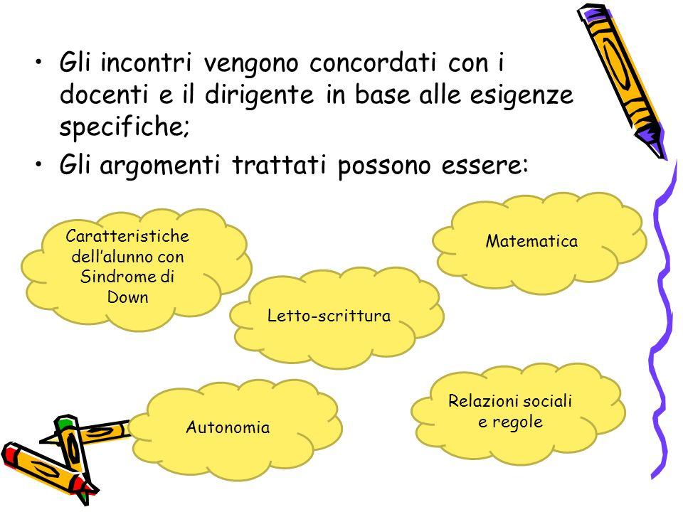 Gli incontri vengono concordati con i docenti e il dirigente in base alle esigenze specifiche; Gli argomenti trattati possono essere: Caratteristiche