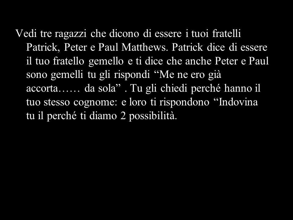Vedi tre ragazzi che dicono di essere i tuoi fratelli Patrick, Peter e Paul Matthews. Patrick dice di essere il tuo fratello gemello e ti dice che anc