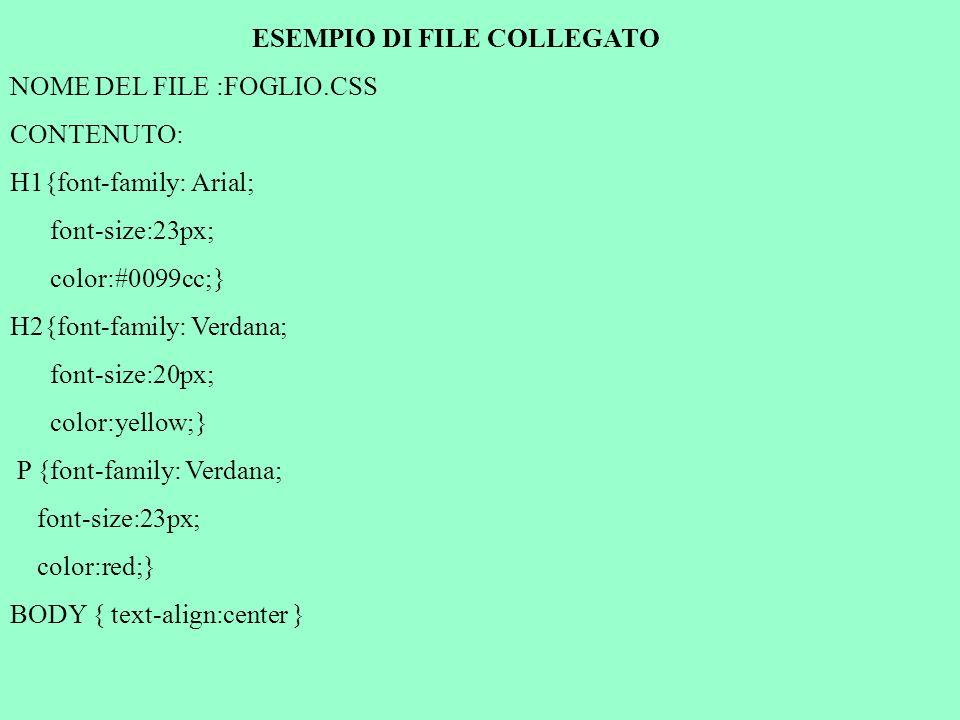 ESEMPIO DI FILE COLLEGATO NOME DEL FILE :FOGLIO.CSS CONTENUTO: H1{font-family: Arial; font-size:23px; color:#0099cc;} H2{font-family: Verdana; font-size:20px; color:yellow;} P {font-family: Verdana; font-size:23px; color:red;} BODY { text-align:center }