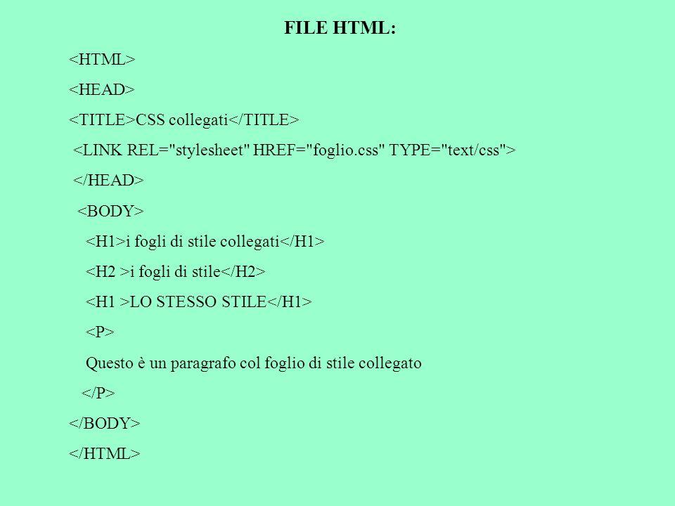FILE HTML: CSS collegati i fogli di stile collegati i fogli di stile LO STESSO STILE Questo è un paragrafo col foglio di stile collegato
