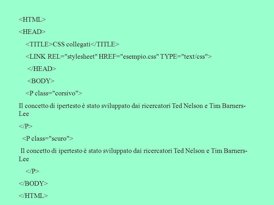 CSS collegati Il concetto di ipertesto è stato sviluppato dai ricercatori Ted Nelson e Tim Barners- Lee Il concetto di ipertesto è stato sviluppato dai ricercatori Ted Nelson e Tim Barners- Lee