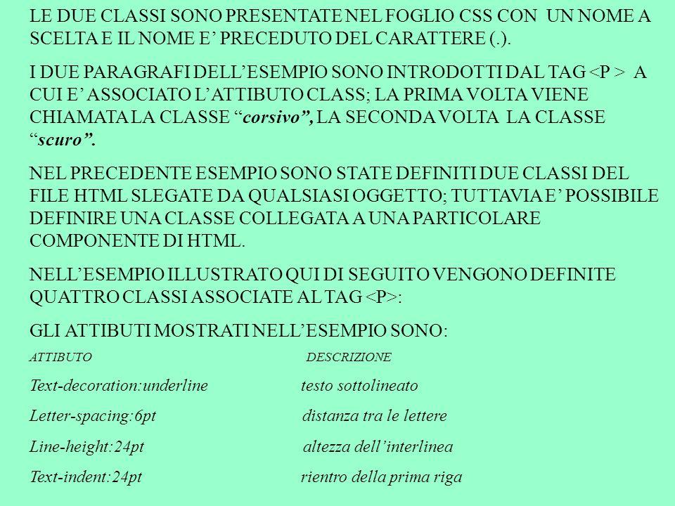 LE DUE CLASSI SONO PRESENTATE NEL FOGLIO CSS CON UN NOME A SCELTA E IL NOME E PRECEDUTO DEL CARATTERE (.). I DUE PARAGRAFI DELLESEMPIO SONO INTRODOTTI