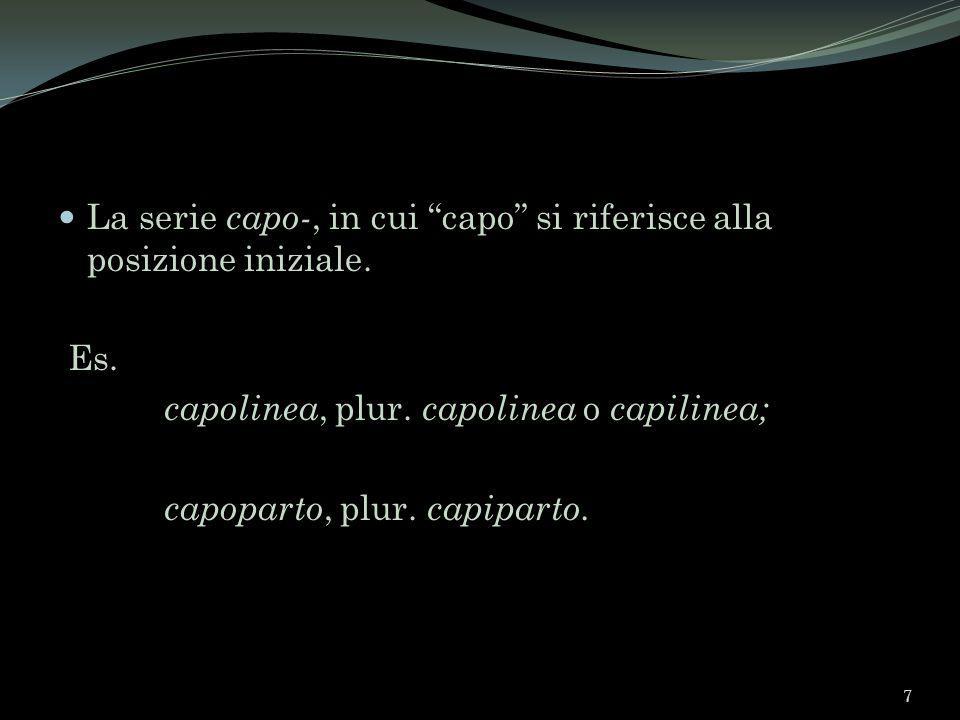 La serie capo-, in cui capo si riferisce alla posizione iniziale. Es. capolinea, plur. capolinea o capilinea; capoparto, plur. capiparto. 7
