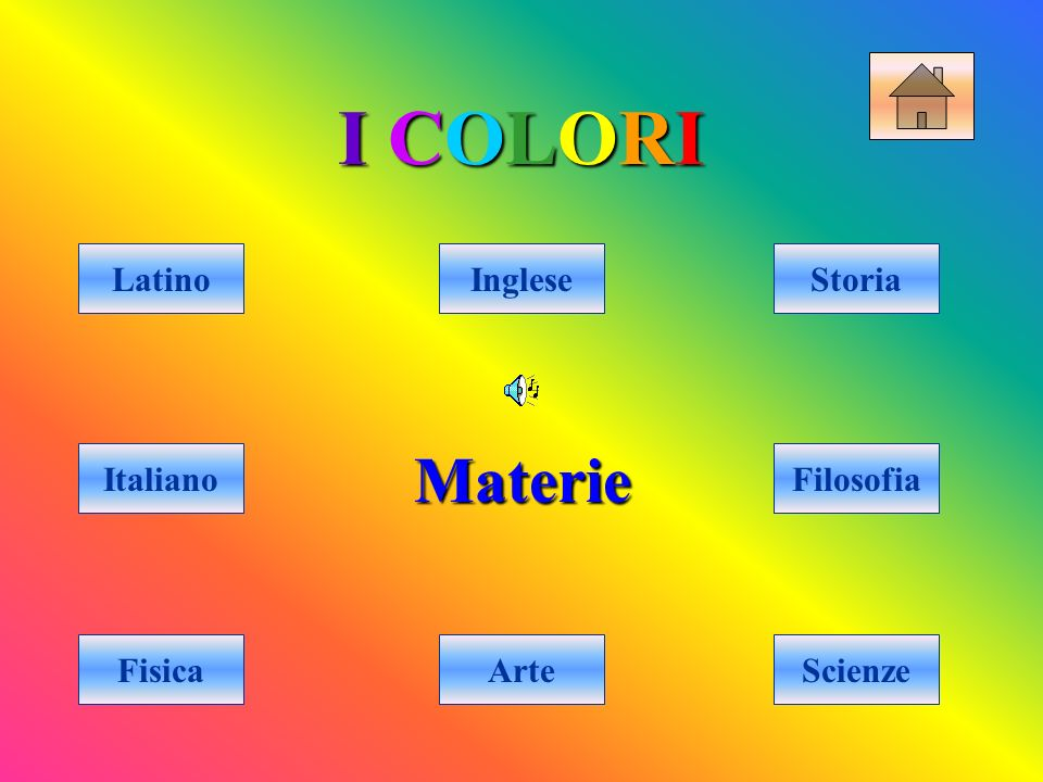 I COLORII COLORII COLORII COLORI Materie Arte IngleseLatino Italiano FisicaScienze Filosofia Storia