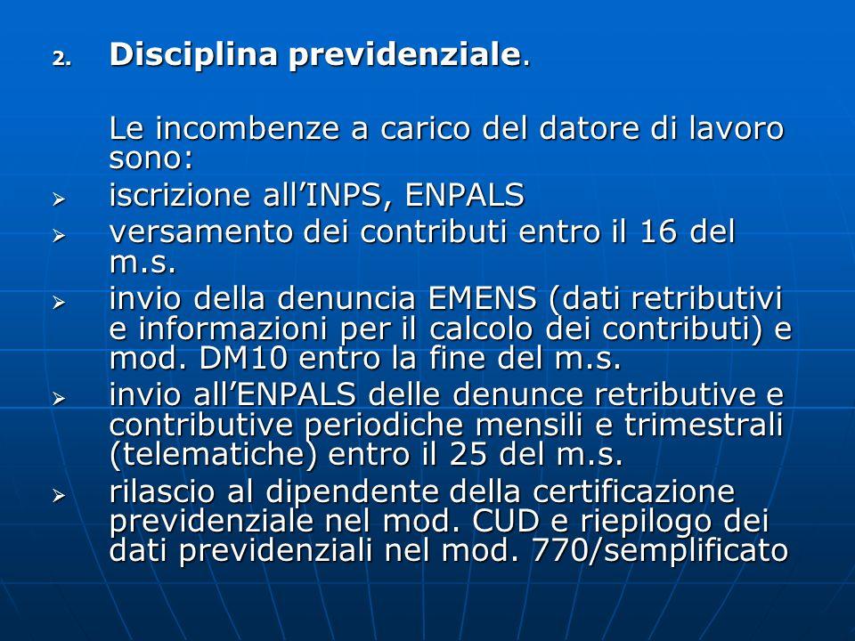 2. Disciplina previdenziale. Le incombenze a carico del datore di lavoro sono: iscrizione allINPS, ENPALS iscrizione allINPS, ENPALS versamento dei co