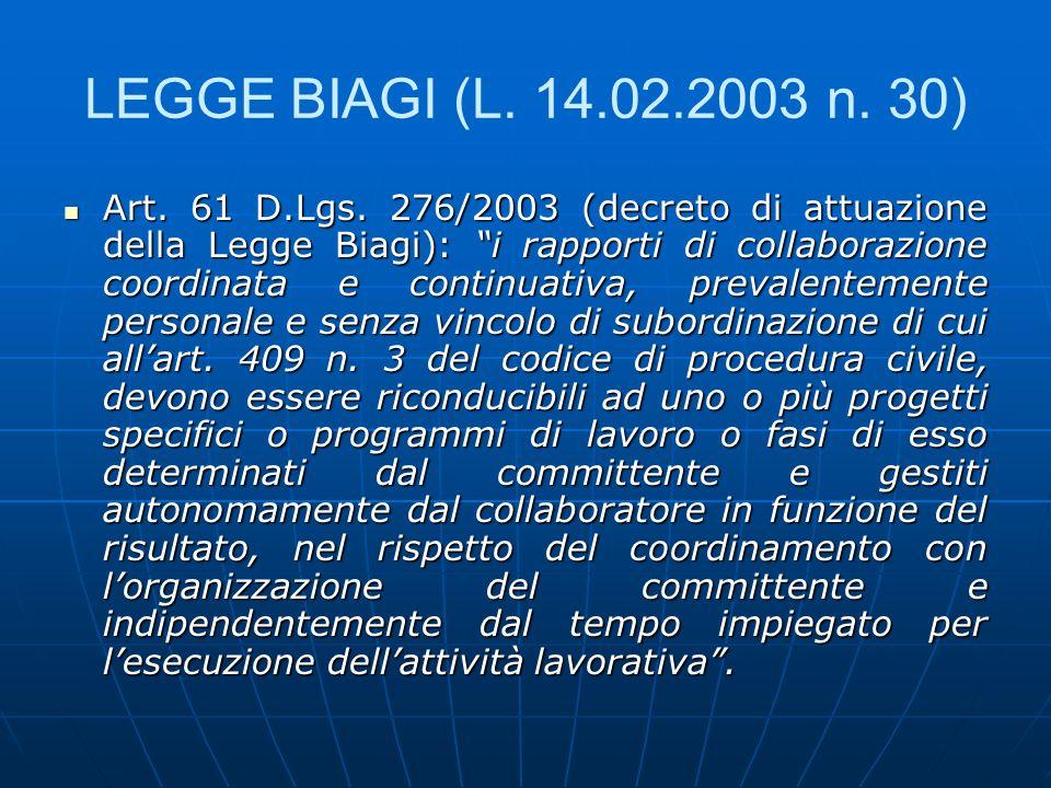 LEGGE BIAGI (L. 14.02.2003 n. 30) Art. 61 D.Lgs. 276/2003 (decreto di attuazione della Legge Biagi): i rapporti di collaborazione coordinata e continu