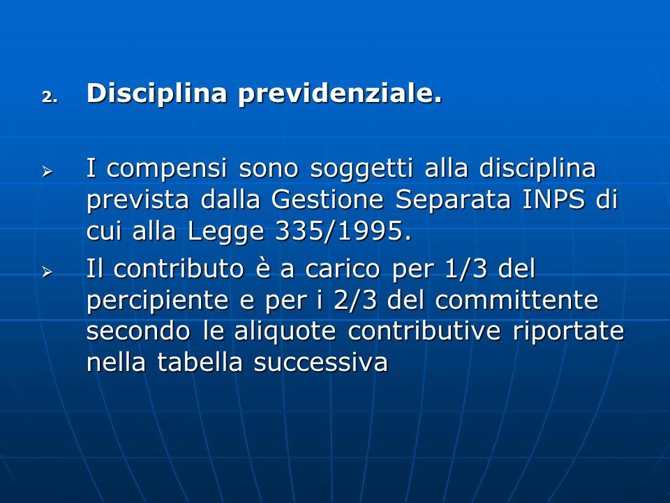 2. Disciplina previdenziale. I compensi sono soggetti alla disciplina prevista dalla Gestione Separata INPS di cui alla Legge 335/1995. I compensi son