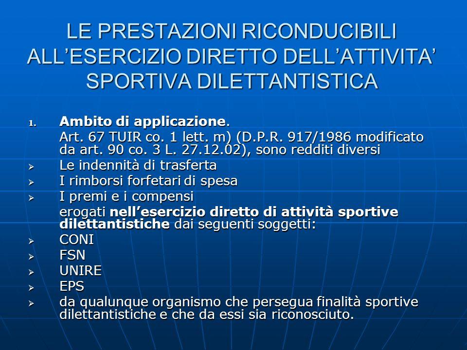 LE PRESTAZIONI RICONDUCIBILI ALLESERCIZIO DIRETTO DELLATTIVITA SPORTIVA DILETTANTISTICA 1. Ambito di applicazione. Art. 67 TUIR co. 1 lett. m) (D.P.R.
