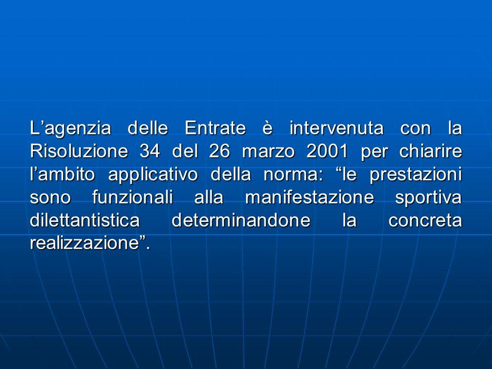 Lagenzia delle Entrate è intervenuta con la Risoluzione 34 del 26 marzo 2001 per chiarire lambito applicativo della norma: le prestazioni sono funzion
