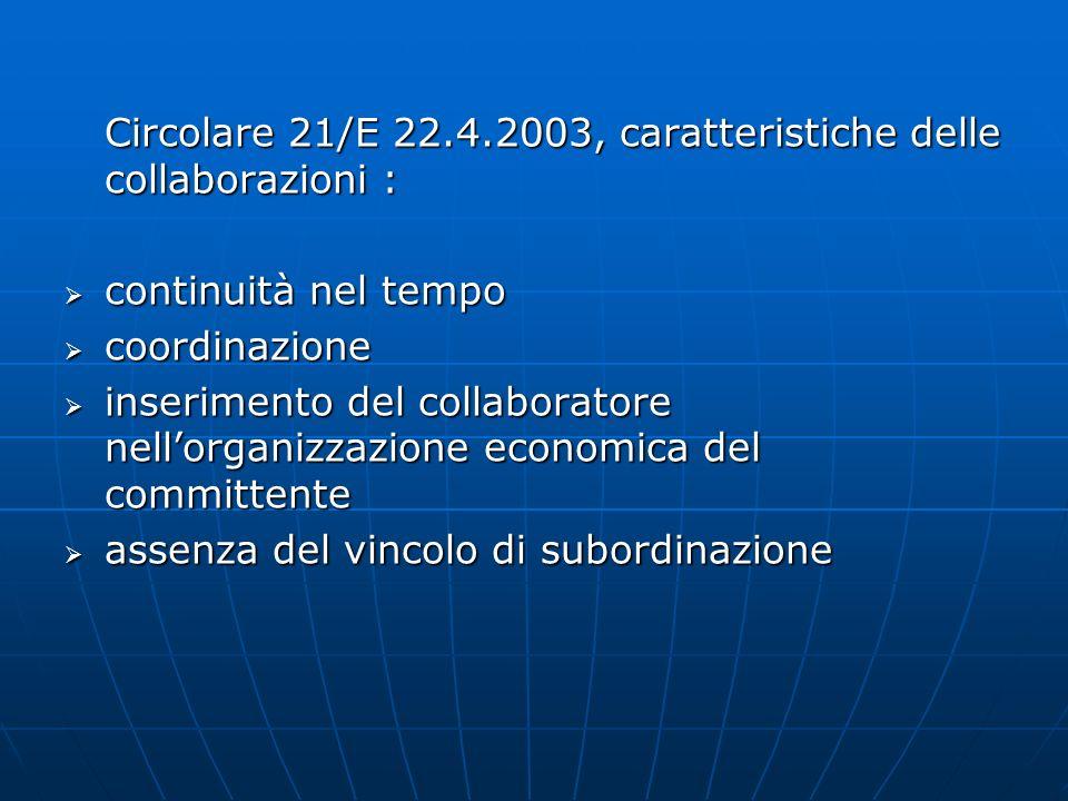Circolare 21/E 22.4.2003, caratteristiche delle collaborazioni : continuità nel tempo continuità nel tempo coordinazione coordinazione inserimento del