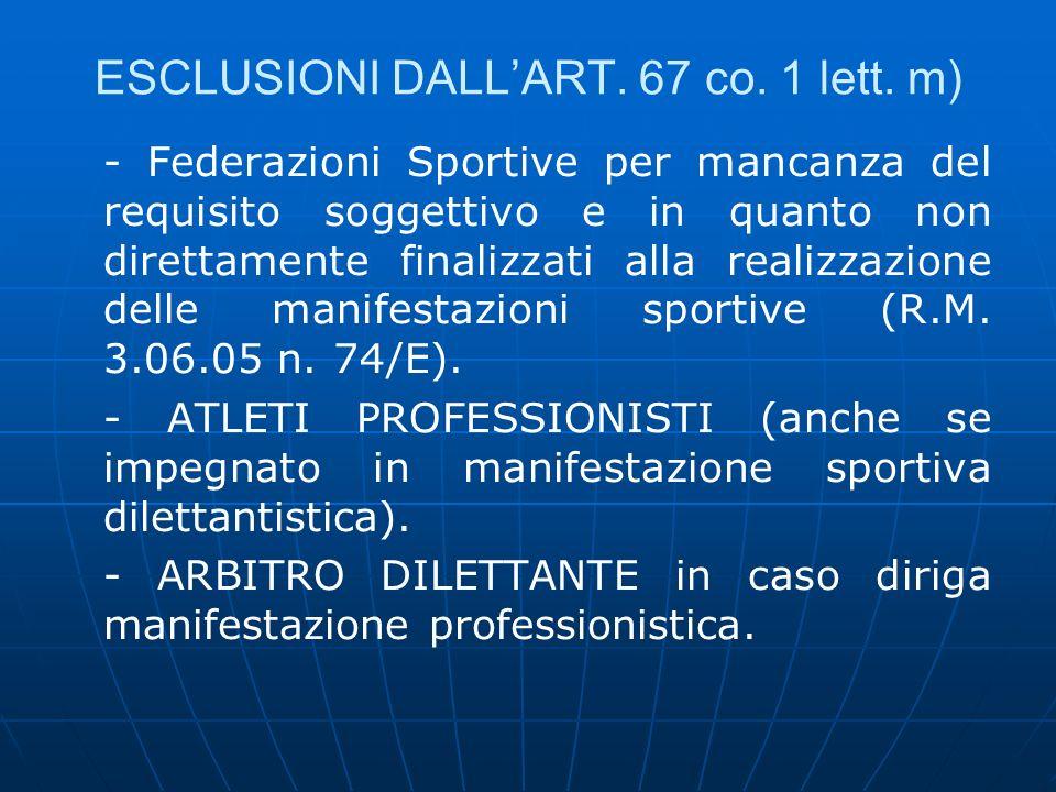 ESCLUSIONI DALLART. 67 co. 1 lett. m) - Federazioni Sportive per mancanza del requisito soggettivo e in quanto non direttamente finalizzati alla reali