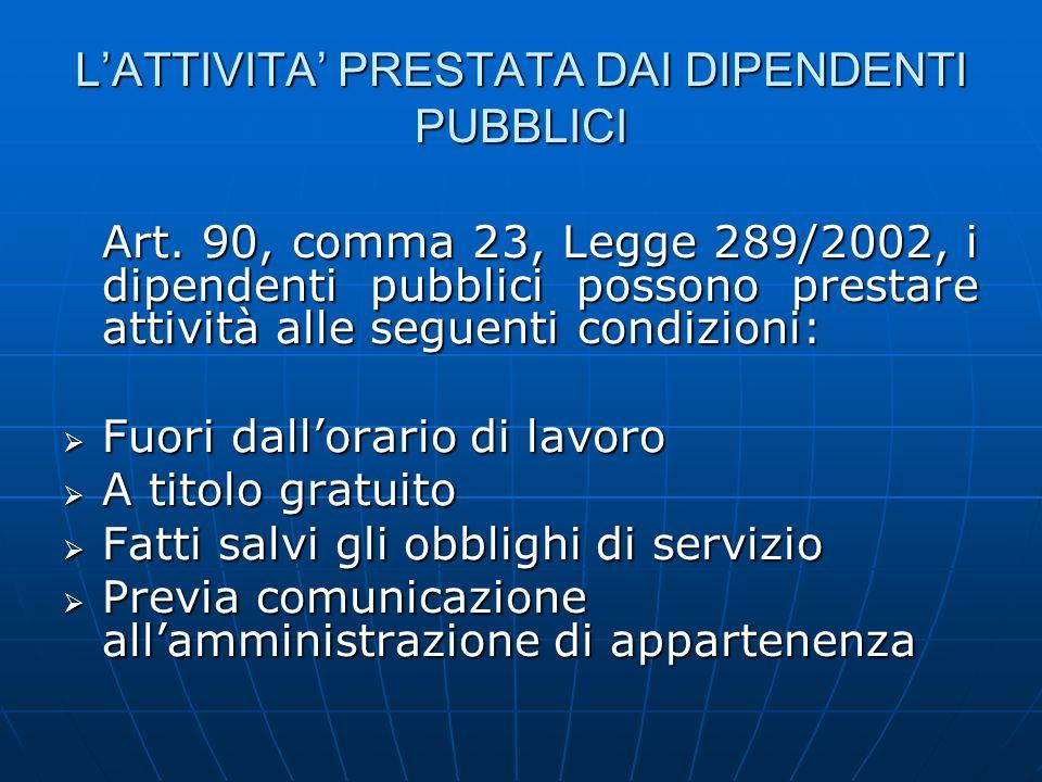 LATTIVITA PRESTATA DAI DIPENDENTI PUBBLICI Art. 90, comma 23, Legge 289/2002, i dipendenti pubblici possono prestare attività alle seguenti condizioni
