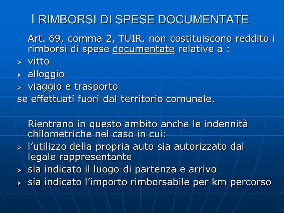 I RIMBORSI DI SPESE DOCUMENTATE Art. 69, comma 2, TUIR, non costituiscono reddito i rimborsi di spese documentate relative a : vitto vitto alloggio al