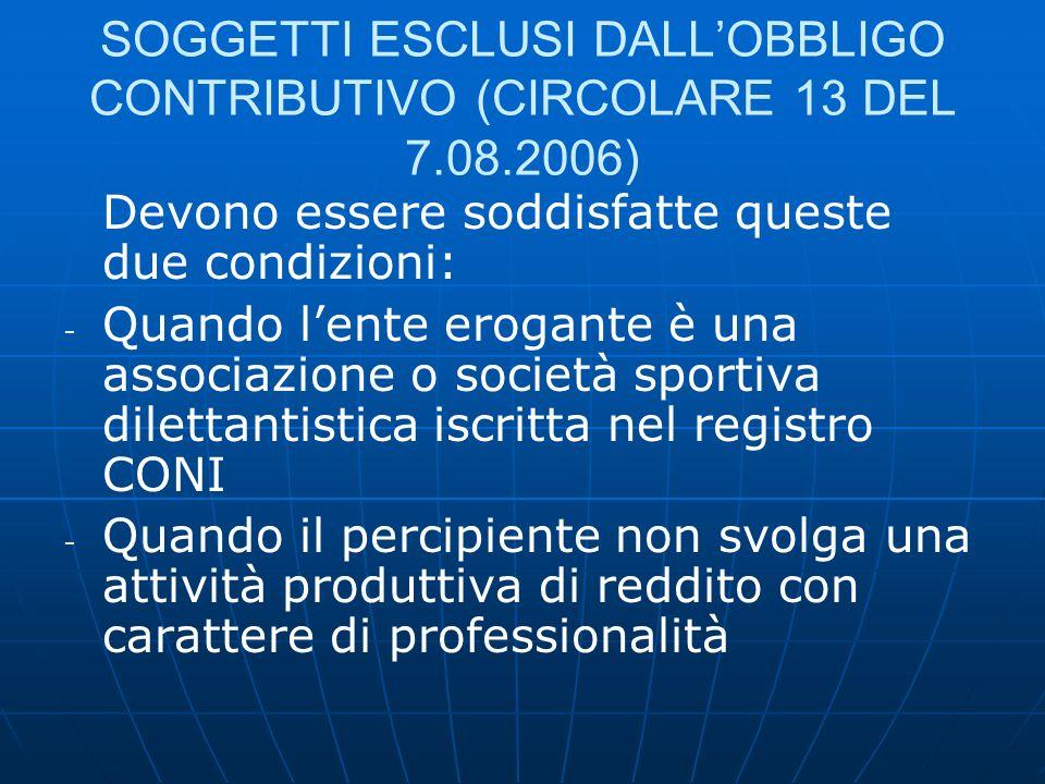 SOGGETTI ESCLUSI DALLOBBLIGO CONTRIBUTIVO (CIRCOLARE 13 DEL 7.08.2006) Devono essere soddisfatte queste due condizioni: - - Quando lente erogante è un