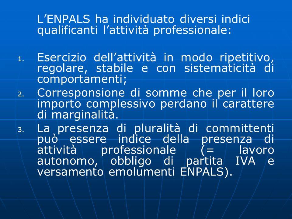 LENPALS ha individuato diversi indici qualificanti lattività professionale: 1. 1. Esercizio dellattività in modo ripetitivo, regolare, stabile e con s