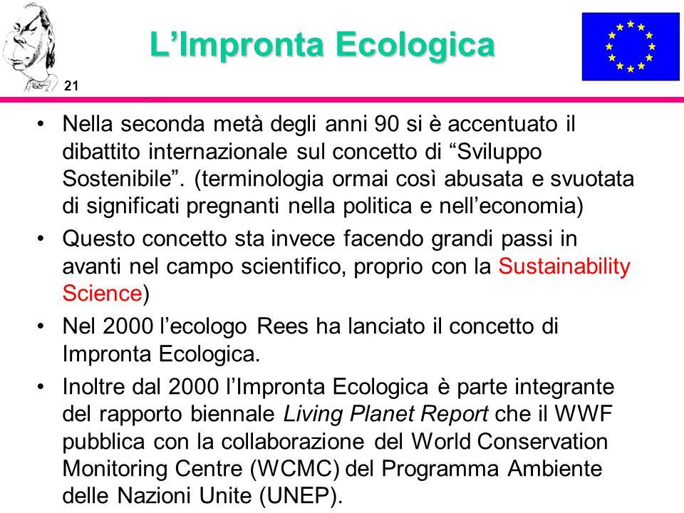 21 LImpronta Ecologica Nella seconda metà degli anni 90 si è accentuato il dibattito internazionale sul concetto di Sviluppo Sostenibile. (terminologi