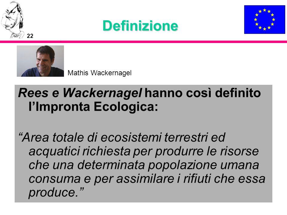 22 Definizione Rees e Wackernagel hanno così definito lImpronta Ecologica: Area totale di ecosistemi terrestri ed acquatici richiesta per produrre le