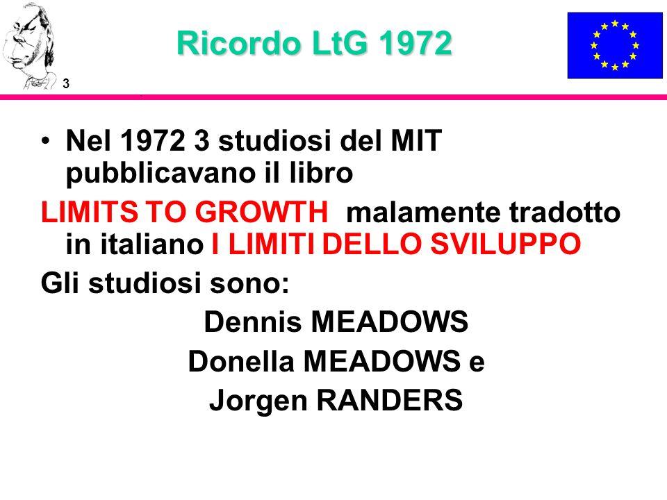 3 Ricordo LtG 1972 Nel 1972 3 studiosi del MIT pubblicavano il libro LIMITS TO GROWTH malamente tradotto in italiano I LIMITI DELLO SVILUPPO Gli studi